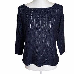 Ann Taylor Sweater Navy Blue Zipper Back XS